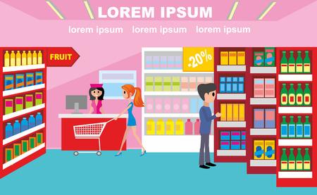 supermarket, a supermarket worker serves a girl Ilustrace
