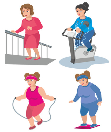 girls athletes play sports on a stationary bike and run