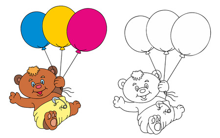 baby bear with the balloon Ilustrace