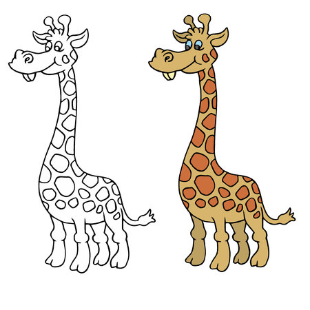 animal coloring pages giraffe 일러스트