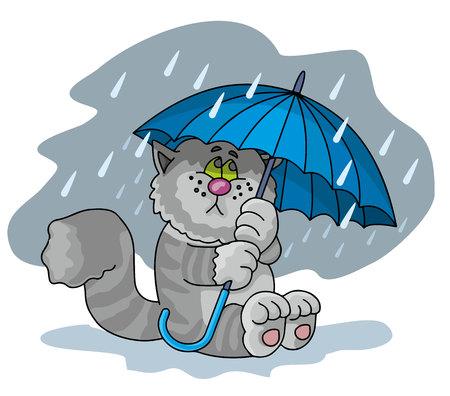 animals, cat with umbrella Ilustrace