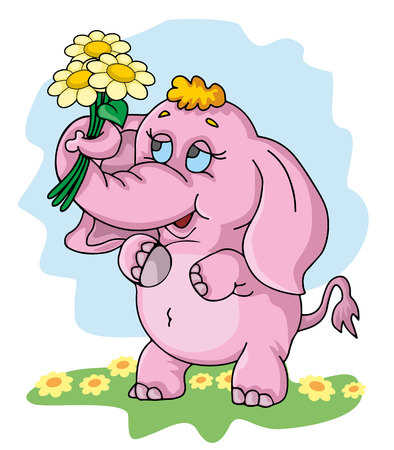 cute little elephant with a flowers