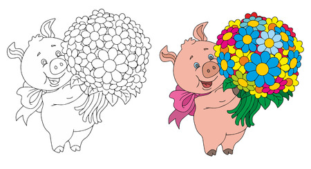 funny pigs with flowers