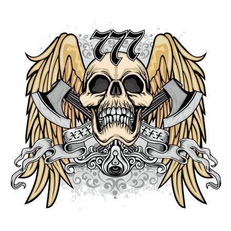 Gothic coat of arms with skull, grunge vintage design t shirts Reklamní fotografie - 124617889