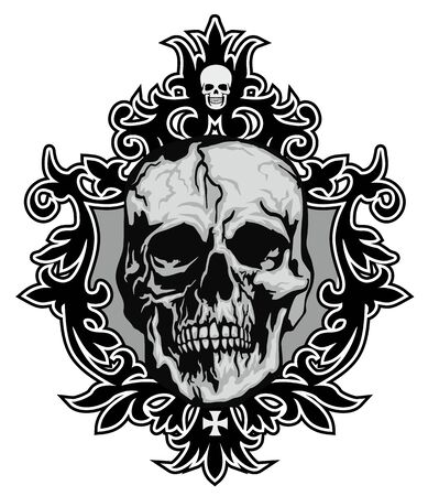 Gothic sign with skull, grunge vintage design t shirts Stok Fotoğraf - 124689038