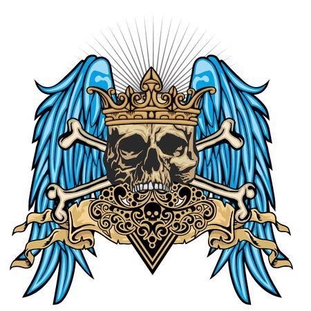 Gothic sign with skull and wings grunge vintage design t shirts Reklamní fotografie - 128035907