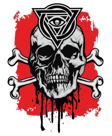 Gothic emblem with skull and masons sign, grunge vintage design t shirts Stok Fotoğraf - 128035915