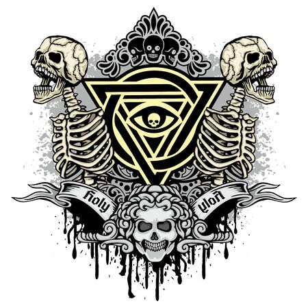 Gothic sign with skull, grunge vintage design t shirts Ilustrace