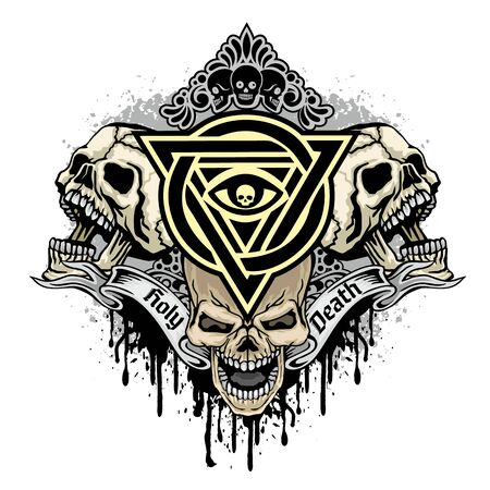 Gothic sign with skull, grunge vintage design t shirts Stok Fotoğraf - 128035918