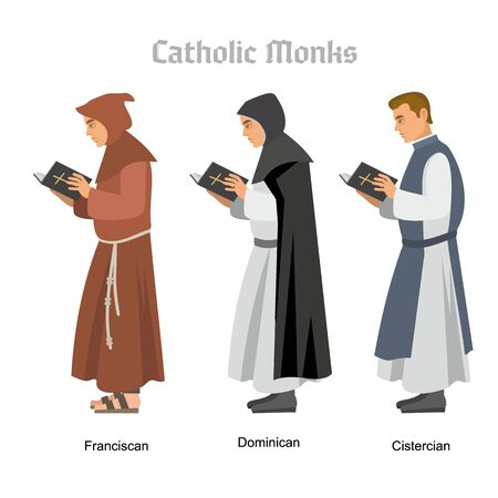 catholic monk priest in robes, flat illustration Stok Fotoğraf - 128036008