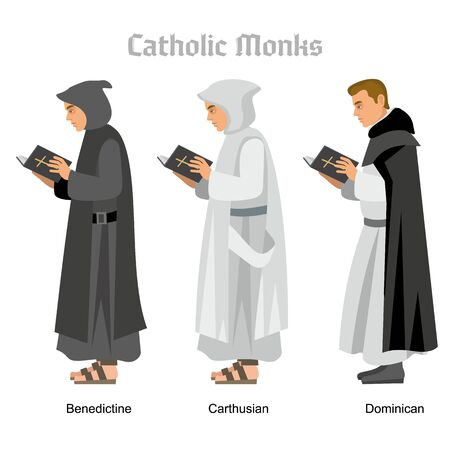 catholic monk priest in robes, flat illustration Stok Fotoğraf - 128036012