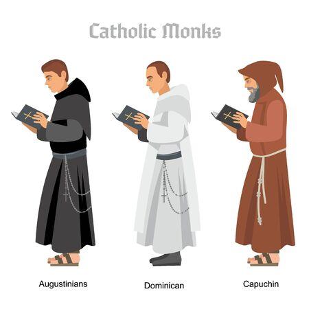 sacerdote monje católico en túnicas, ilustración plana