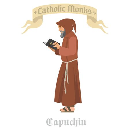 catholic monk priest in robes, flat illustration Reklamní fotografie - 128036021