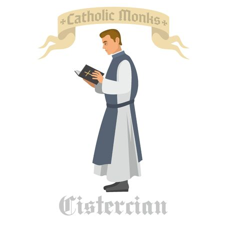 catholic monk in vestment, flat illustration Stok Fotoğraf - 133385536