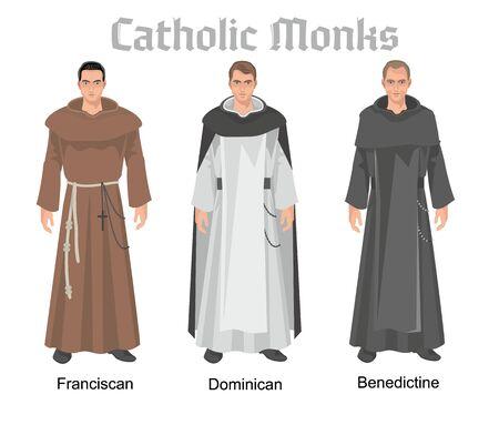 catholic monk in vestment, flat illustration Çizim