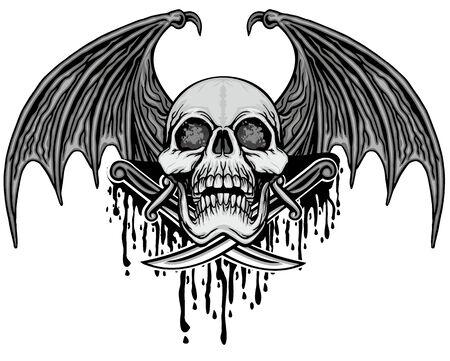 Segno gotico con teschio, magliette di design vintage grunge