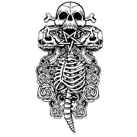 Gothic sign with skull, grunge vintage design t shirts Çizim
