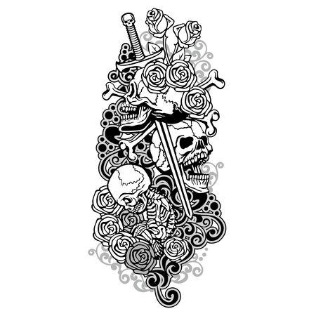 Gothic sign with skull, grunge vintage design t shirts Stok Fotoğraf - 133385552