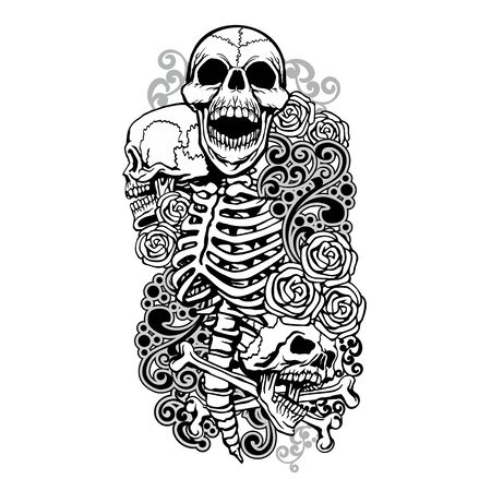 Gothic sign with skull, grunge vintage design t shirts Stok Fotoğraf - 133385556