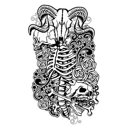 Gothic sign with skull, grunge vintage design t shirts Stok Fotoğraf - 133385564