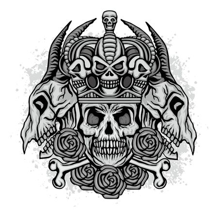 Gothic sign with skull and wings grunge vintage design t shirts