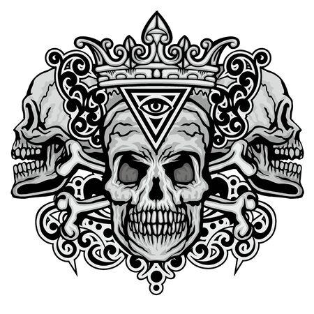 Signe gothique avec crâne, t-shirts design vintage grunge