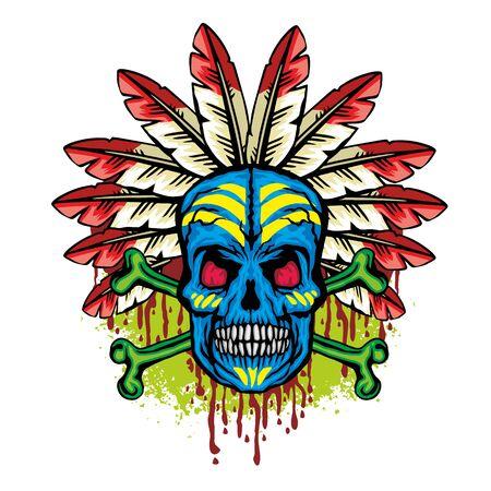 Gothic sign with skull, grunge vintage design t shirts Ilustracja
