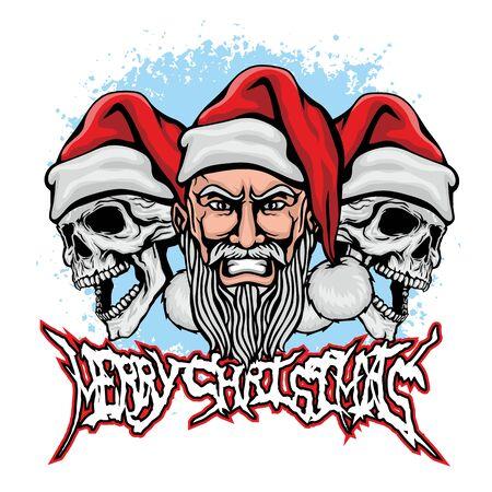 Xmas sign with skull and Santa Claus, grunge vintage design t shirts Çizim