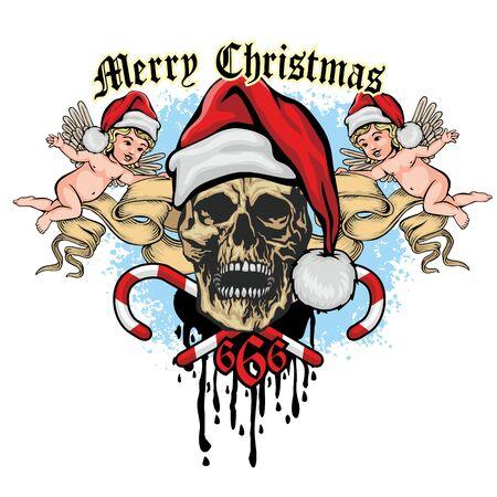 Xmas sign with skull and Santa Claus, grunge vintage design t shirts Ilustracja