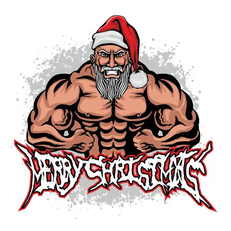 Christmas fitness Santa Claus, grunge vintage design t shirts