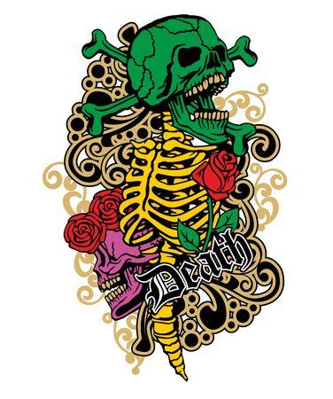 Gotisches Zeichen mit Schädel, Grunge Vintage Design T-Shirts