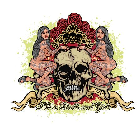 Gotisches Schild mit Totenkopf, Grunge-Vintage-Design-T-Shirts