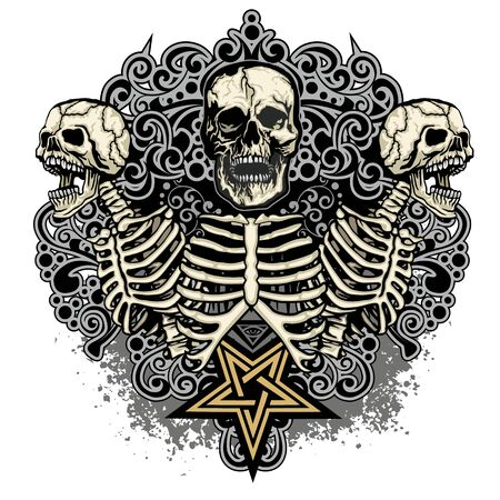 Gothic sign with skull, grunge vintage design t shirts 일러스트