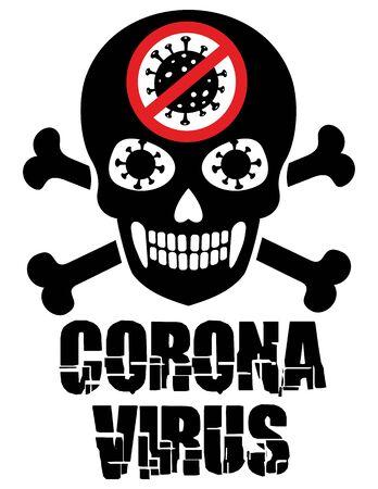 coronavirus sign with skull, t-shirt design