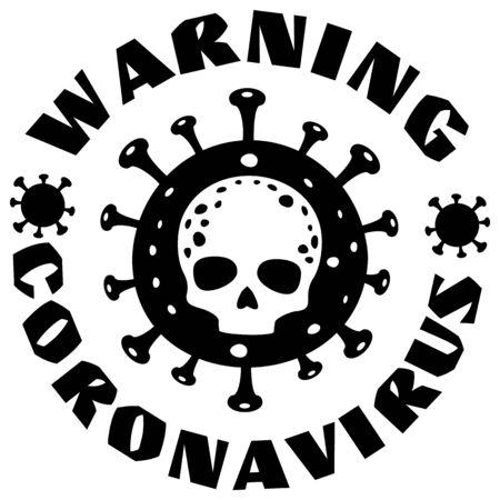 coronavirus sign with skull, t-shirt design ?? ?? ??
