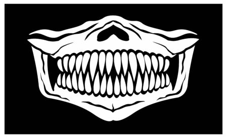 mask of face with skull and predator teeth 일러스트