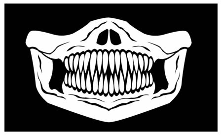 mask of face with skull and predator teeth Stock Illustratie