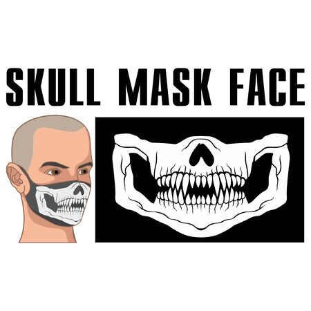 mask of face with skull and predator teeth Çizim