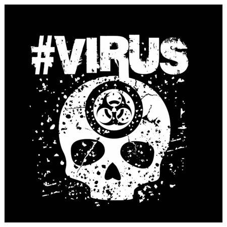 biohazard, sign with skull, grunge vintage design t shirts Çizim