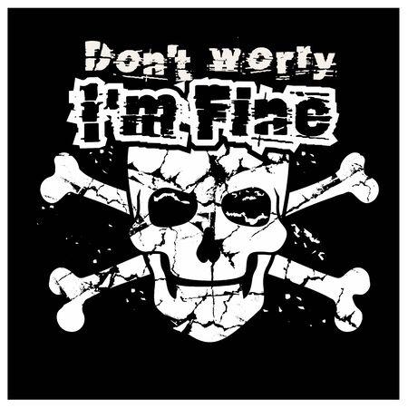 Gothic sign with skull, grunge vintage design t shirts Vettoriali