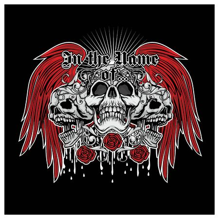 Gothic sign with skull, grunge vintage design t shirts 矢量图像