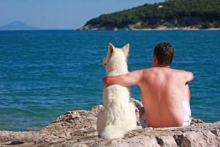 friendship between man and dog Standard-Bild