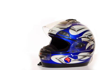 Blue full face crash helmet Stock Photo - 8595187