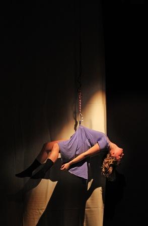 hanged: TURIN, ITALY - JANUARY 25, 2011: dancers of Salvino Aiosas Ballet Company perform The diary of Anna Frank