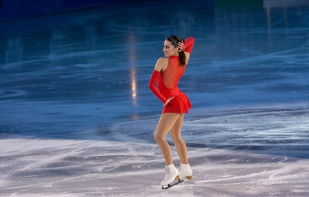 Turin, Italy - October,  8, 2011:Valentina Marchei of Italy perform in the Gran Gal� of Ice event in the Palavela in Turin, Italy