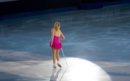 Turin, Italy - October,  8, 2011: Joannie Rochette of Canada perform in the Gran Gal� of Ice event in the Palavela in Turin, Italy