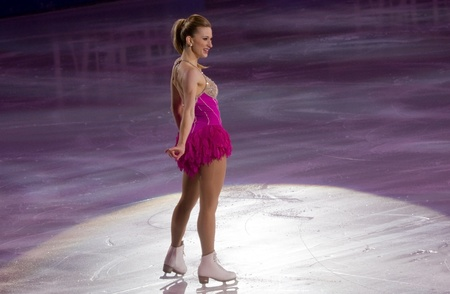 Turin, Italy - October,  8, 2011: Joannie Rochette of Canada perform in the Gran Gal� of Ice event in the Palavela in Turin, Italy Stock Photo - 10887689