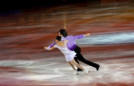 Turin, Italy - October,  8, 2011: Qing Pang and Jian Tong of China  perform in the Gran Galà of Ice event in the Palavela in Turin, Italy