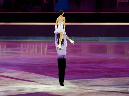 Turin, Italy - October,  8, 2011: Qing Pang and Jian Tong of China  perform in the Gran Gal� of Ice event in the Palavela in Turin, Italy Stock Photo - 10887605