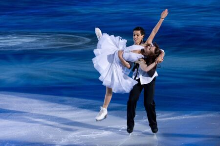 Turin, Italy - October,  8, 2011:Anna Cappellini and Luca Lanotte of Italy perform in the Gran Galà of Ice event in the Palavela in Turin, Italy